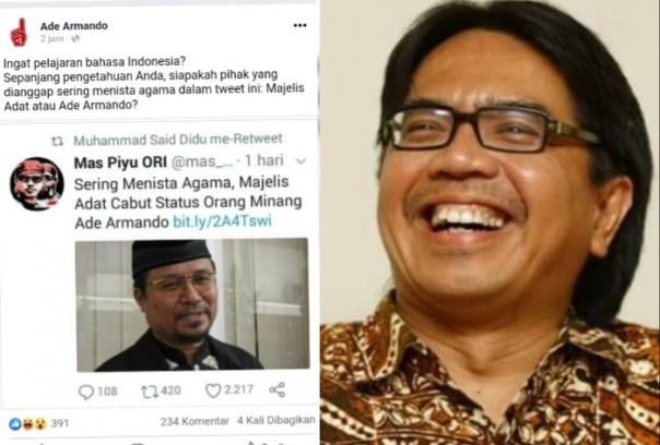 Status Orang Minang Dicabut, Ade Armando: Siapa Pihak yang Sering Meninstakan Agama? (Foto/int)